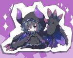 1girl black_cape black_dress black_legwear cape chibi commentary_request curled_horns dragon_girl dragon_horns dragon_tail dragon_wings dress full_body gore_magala hood hood_up hooded_cape horns horns_through_headwear juliet_sleeves long_sleeves milkpanda monster_hunter no_shoes pantyhose personification puffy_sleeves purple_background purple_wings sleeves_past_wrists solo sparkle standing tail wide_sleeves wings