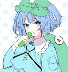 +_+ 1girl :t backpack bag bangs blue_eyes blue_hair blurry breasts closed_mouth cucumber depth_of_field eating eyebrows_visible_through_hair food food_on_face frilled_shirt_collar frills green_bag green_headwear hat heart highres kawashiro_nitori key light_blush long_sleeves looking_at_viewer pocket short_hair simple_background small_breasts solo spoken_heart touhou two_side_up white_background yurui_tuhu