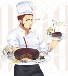 1boy 2boys 2girls alternate_costume apron black_apron blue_eyes brown_hair buttons cake charles-henri_sanson_(fate) chef chef_hat chef_uniform chibi facial_hair fate/grand_order fate_(series) food goatee hat holding holding_cake holding_food holding_plate jeanne_d'arc_(fate) jeanne_d'arc_(fate)_(all) kaiki_(osuppai) long_sideburns male_focus marie_antoinette_(fate) mature_male multiple_boys multiple_girls muscular muscular_male napoleon_bonaparte_(fate) one_eye_closed pectorals plate short_hair solo sparkle waist_apron