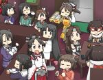 6+girls ? ahoge alternate_costume antenna_hair apron ashigara_(kancolle) bangs bar black_hair brown_eyes card chikuma_(kancolle) closed_eyes cup detached_sleeves door double_bun elbow_gloves food gloves haguro_(kancolle) hair_between_eyes hair_ornament hair_ribbon hairband hairclip hamu_koutarou headband headgear highres holding holding_microphone jacket japanese_clothes jintsuu_(kancolle) kantai_collection long_hair long_sleeves low-tied_long_hair mask microphone multiple_girls myoukou_(kancolle) nachi_(kancolle) naka_(kancolle) nisshin_(kancolle) open_mouth red_jacket red_neckwear remodel_(kantai_collection) ribbon ribbon-trimmed_sleeves ribbon_trim scarf sendai_(kancolle) short_hair shouhou_(kancolle) sidelocks sitting smile stool table tone_(kancolle) track_jacket twintails two_side_up white_gloves wide_sleeves yellow_apron