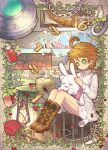 1girl ahoge bare_legs bars basket bird black_ribbon blush boots bottle bow bowtie bread brown_background brown_footwear building button_eyes buttons chain closed_eyes closed_mouth commentary_request crayon_drawing croissant emma_(yakusoku_no_neverland) english_text fire flower food full_body green_eyes hat hat_ribbon highres holding holding_stuffed_toy identity_v jewelry knife lantern light_smile long_sleeves looking_down n_kamui neck_tattoo necklace number number_tattoo open_mouth orange_hair outdoors owl petals pink_neckwear pink_shirt plant prison prison_cell red_flower ribbon shirt short_hair skirt smile solo spray_bottle stitches string_phone stuffed_animal stuffed_bunny stuffed_toy sun_hat table tattoo toolbox vines white_shirt white_skirt yakusoku_no_neverland yarn