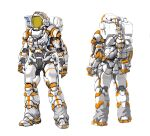 1boy astronaut backpack bag cable ct990413 from_behind helmet highres leaning_forward male_focus multiple_views open_hands original science_fiction spacesuit