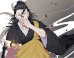 1boy ball bangs black_eyes black_hair black_kimono ear_piercing enenito_ju getou_suguru grey_background hair_bun hair_pulled_back hand_up highres japanese_clothes jujutsu_kaisen kimono long_hair looking_at_viewer magic male_focus piercing smile solo tsurime upper_body white_background wide_sleeves