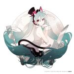 1girl animal_ear_fluff animal_ears aqua_eyes aqua_hair aqua_nails aqua_neckwear bare_arms bare_shoulders black_headwear black_skirt bow bowtie cat_ears cat_girl cat_tail collared_shirt commentary_request crypton_future_media floating_hair fork grey_shirt hair_between_eyes hat hatsune_miku headset kemonomimi_mode knife long_hair miniskirt nail_polish no_legs no_nose official_art piapro plate pleated_skirt rella shirt skirt sleeveless sleeveless_shirt solo sparkle tail top_hat twintails very_long_hair vocaloid watermark wrist_cuffs