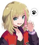 1girl :d animal_ears black_choker blue_eyes choker collarbone dog_ears hair_flaps jacket kawai_rika letterman_jacket light_brown_hair multicolored_hair niina_ryou open_clothes open_jacket open_mouth paw_pose paw_print simple_background smile solo speech_bubble spoken_paw streaked_hair upper_body upper_teeth white_background wonder_egg_priority