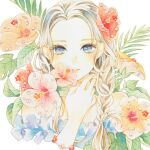 1girl blue_eyes blush braid braided_ponytail flower hair_over_shoulder hand_up hibiscus highres leaf long_hair looking_at_viewer orange_flower original parted_lips pink_flower plant red_flower smile solo traditional_media upper_body watercolor_(medium) yuufuushi