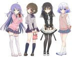 4girls ahoge bangs black_hair black_legwear black_sailor_collar black_shirt black_skirt blue_eyes blue_hair blush box breasts brown_eyes brown_footwear brown_hair bun_cover cardigan closed_mouth collared_shirt double_bun dress_shirt eyebrows_visible_through_hair frilled_skirt frills gift gift_box green_eyes grey_shirt grey_skirt hair_between_eyes hair_ornament highres holding holding_gift kneehighs long_hair long_sleeves looking_at_viewer medium_breasts multiple_girls necktie original pantyhose pink_cardigan plaid plaid_skirt pleated_skirt purple_hair red_eyes sailor_collar school_uniform serafuku shirt shoes skirt sleeves_past_wrists small_breasts smile snowflake_hair_ornament socks sweat sweater_vest thigh-highs two_side_up uwabaki v-shaped_eyebrows very_long_hair white_footwear white_neckwear white_shirt white_skirt yuuki_rika