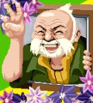 1boy ame_(regular_badge) closed_eyes collared_shirt commentary_request facial_hair flower green_shirt lowres male_focus old old_man open_mouth pixel_art pokemon pokemon_(game) pokemon_oras shirt short_sleeves solo teeth v wattson_(pokemon) white_hair wrinkles
