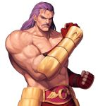 1boy abs arm_guards bare_pecs blue_eyes championship_belt clenched_hands collarbone commentary_request cowboy_shot cross_scar evilgun facial_hair fatal_fury fingerless_gloves fingernails gloves highres long_hair looking_at_viewer male_focus muscular muscular_male mustache navel pectorals purple_hair red_gloves scar scar_on_forehead serious shirtless simple_background solo standing stomach the_king_of_fighters the_king_of_fighters_'96 veins white_background wolfgang_krauser