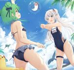 2girls :d arm_up ass bangs bare_arms bare_shoulders bikini bird black_bikini black_ribbon bloop_(gawr_gura) blue_eyes blue_hair blue_swimsuit blunt_bangs blush breasts chintora0201 clothes_writing collarbone commentary covered_navel day double_bun dutch_angle fish_tail gawr_gura green_hair hair_ribbon hands_up highres hololive long_hair multicolored_hair multiple_girls one-piece_swimsuit open_mouth outdoors palm_tree ribbon shark_girl shark_tail sharp_teeth short_hair silver_hair sky small_breasts smile standing streaked_hair swimsuit tail teeth tree two_side_up uruha_rushia virtual_youtuber water water_drop