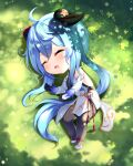 1girl absurdres ahoge bangs bare_shoulders blue_hair blurry blush bodysuit bodysuit_under_clothes closed_eyes depth_of_field detached_sleeves eyebrows_visible_through_hair ganyu_(genshin_impact) genshin_impact grass hair_between_eyes high_heels highres horns huge_filesize kimae long_hair lying open_mouth outdoors sleeping solo vision_(genshin_impact)