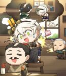 !! >_< 3boys apron artist_request bandaid bandaid_on_arm bandaid_on_nose bangs bennett_(genshin_impact) bird black_apron black_hair bowing chibi closed_eyes comb cutting_hair dentures english_commentary flying_sweatdrops genshin_impact gloves goggles goggles_on_head green_eyes grey_hair hair_between_eyes indoors male_focus multiple_boys official_art old old_man open_mouth scar scar_on_arm scissors sleeveless standing stool sweat tears waist_apron window