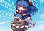 1girl :3 bangs black_headwear blue_hair blue_skirt blue_sky brown_footwear clouds collared_shirt cross-laced_footwear dragon_ball dragon_ball_(classic) eyebrows_visible_through_hair food frilled_skirt frills fruit full_body hinanawi_tenshi keystone leaf long_hair motion_lines outdoors peach puffy_short_sleeves puffy_sleeves rainbow_order red_eyes red_neckwear rope shide shimenawa shirt short_sleeves skirt sky solo standing surfing tao_pai_pai touhou twitter_username unime_seaflower white_shirt