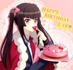 1girl bangs blunt_bangs bow brown_hair cake cape cardigan collared_shirt eating eyebrows_visible_through_hair floating_hair food fur-trimmed_cape fur_trim grey_cardigan hair_bow happy_birthday heart holding holding_plate long_hair long_sleeves miona_yui necktie open_cardigan open_clothes pink_background pink_bow pink_eyes plate red_cape red_neckwear senki_zesshou_symphogear shiny shiny_hair shirt solo tsukuyomi_shirabe twintails upper_body very_long_hair white_shirt wing_collar