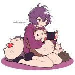 1girl animal_pillow bare_legs bernadetta_von_varley black_legwear black_shorts blush do_m_kaeru fire_emblem fire_emblem:_three_houses grey_eyes hedgehog hood hoodie long_sleeves messy_hair nintendo_switch purple_hair purple_hoodie seiza short_hair shorts simple_background sitting solo white_background