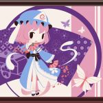 1girl black_bow black_footwear blue_bow blue_kimono blush bow bug butterfly chibi cobalta crossed_legs eyebrows_visible_through_hair fan folding_fan ghost_tail goshoguruma hat hitodama insect japanese_clothes kimono mob_cap obi pink_hair ribbon-trimmed_sleeves ribbon_trim saigyouji_yuyuko saigyouji_yuyuko's_fan_design sash shippou_(pattern) short_hair touhou triangular_headpiece watson_cross wide_sleeves