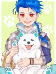 1boy 1other animal asymmetrical_bangs asymmetrical_clothes bangs blue_hair bracelet braid braided_ponytail child cu_chulainn_(fate)_(all) dog earrings fate/grand_order fate/grand_order_arcade fate_(series) happy highres ibushi jewelry long_hair long_sleeves looking_at_viewer male_focus open_mouth paw_print paws ponytail popped_collar puppy red_eyes setanta_(fate) signature slit_pupils smile spiky_hair