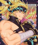 1boy bandages blonde_hair blue_eyes crossed_arms fate/grand_order fate_(series) headband heian_warrior_attire_(fate/grand_order) igote large_pectorals long_hair male_focus mature_male muscular muscular_male nipples official_alternate_costume sakata_kintoki_(fate) sara_(kurome1127) sidepec smile solo