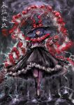 2b-ge black_headwear black_skirt bow capelet drill eyebrows_visible_through_hair frilled_skirt frills highres lightning_bolt long_sleeves looking_at_viewer medium_hair nagae_iku purple_hair red_eyes shirt skirt smile solo standing touhou white_capelet white_shirt