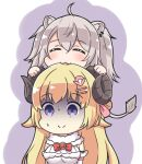 2girls :3 ahoge animal_ear_fluff animal_ears bangs biting blonde_hair bow breasts claws closed_eyes closed_mouth commentary_request detached_sleeves dress eyebrows_visible_through_hair facing_viewer fang grey_hair hair_between_eyes hair_ornament hairclip head_biting highres hololive large_breasts lion_ears lion_girl lion_tail long_hair multiple_girls purple_background red_bow rutorifuki shishiro_botan smile tail tsunomaki_watame turn_pale two-tone_background two_side_up upper_body very_long_hair violet_eyes virtual_youtuber white_background white_dress white_sleeves