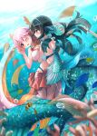 159cm 2girls :d air_bubble bikini black_hair blue_eyes blurry blurry_foreground blush bow breasts bubble closed_mouth depth_of_field hair_ribbon head_fins highres hip_vent large_breasts mermaid monster_girl multiple_girls no_hands open_mouth original pink_hair pleated_skirt red_bow red_eyes red_skirt ribbon skirt smile swimsuit underwater white_bikini yellow_ribbon