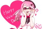 1girl artist_name bangs black_neckwear black_ribbon blunt_bangs blunt_ends chocolate collar collared_shirt commentary domino_mask english_text fangs finger_licking food food_on_face food_on_head frilled_collar frilled_skirt frills hair_ribbon happy_valentine heart heart-shaped_pupils highres inkling licking long_hair looking_at_viewer mask naki_tamago neck_ribbon object_on_head open_mouth pink_eyes pink_hair pointy_ears red_skirt ribbon shirt short_sleeves signature skirt smile solo splatoon_(series) symbol-shaped_pupils tentacle_hair upper_body valentine white_shirt wing_collar yandere_trance