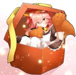 1girl absurdres animal_ear_fluff animal_ears apron bell blush box breasts cat_paws chiri_214 christmas collar fang fate/grand_order fate_(series) fox_ears fox_girl fox_tail gift gift_box gloves hair_ribbon highres jingle_bell large_breasts long_hair looking_at_viewer neck_bell paw_gloves paws pink_hair ponytail red_ribbon ribbon skin_fang solo tail tamamo_(fate)_(all) tamamo_cat_(fate) yellow_eyes