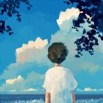 1girl bangqiao_yan blue_sky brown_hair clouds cloudy_sky facing_away from_behind horizon original shirt short_hair short_sleeves sky solo tree upper_body white_shirt