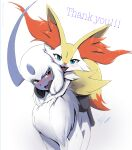 1girl :3 absol absurdres alternate_eye_color animal_ear_fluff animal_ears animal_nose artist_name bangs black_fur blue_eyes blush body_fur braixen commentary dated english_commentary english_text eryz eyebrows_visible_through_hair fangs fluffy fox_ears fox_girl fox_tail furry gen_3_pokemon gen_6_pokemon happy head_tilt headphones headphones_around_neck highres hug looking_at_another looking_at_viewer looking_to_the_side nose_blush open_mouth pokemon pokemon_(creature) riding short_hair signature simple_background smile standing straddling tail thank_you twitter_username watermark white_background white_fur white_hair yellow_fur