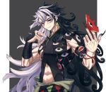 1boy abs alternate_hairstyle angellyuna ashiya_douman_(fate) asymmetrical_hair bead_bracelet beads black_eyes black_hair black_nails blush border bracelet curly_hair earrings fate/grand_order fate_(series) grey_background grin hair_between_eyes hair_intakes highres holding holding_weapon jewelry long_hair magatama magatama_earrings male_focus midriff multicolored_hair official_alternate_costume pectorals pointing pointing_at_self revealing_clothes simple_background single_bare_shoulder smile toned toned_male two-tone_hair very_long_fingernails very_long_hair weapon white_border white_hair