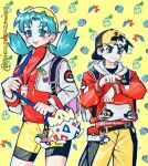 1boy 1girl :d backwards_hat baseball_cap blue_eyes blue_hair breasts chikorita closed_mouth cowboy_shot cropped_jacket cyndaquil earrings ethan_(pokemon) friend_ball gen_1_pokemon gen_2_pokemon great_ball hair_intakes hat highres jacket jewelry kris_(pokemon) legs_apart level_ball long_hair long_sleeves looking_at_viewer love_ball marill open_clothes open_jacket open_mouth outline poke_ball pokegear pokemon pokemon_(game) pokemon_gsc poririna porygon short_hair shorts small_breasts smile star_(symbol) star_earrings starter_pokemon starter_pokemon_trio togepi turtleneck twintails twitter_username unzipped white_jacket yellow_background yellow_headwear zipper zipper_pull_tab