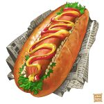 bread bread_bun cocomeen dessert food food_focus hot_dog ketchup lettuce meat mustard newspaper no_humans original realistic sauce sausage simple_background still_life vegetable white_background