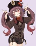 1girl :q black_headwear black_shorts brown_hair brown_shirt bunching_hair chinese_clothes closed_mouth collared_shirt cowboy_shot flower genshin_impact gradient_hair hat hat_flower highres hu_tao long_hair long_sleeves looking_at_viewer lunarscent multicolored_hair pinky_out plum_blossoms red_eyes red_flower shirt short_shorts shorts smile solo star-shaped_pupils star_(symbol) symbol-shaped_pupils tongue tongue_out twintails