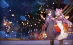 2girls aqua_eyes bag bare_shoulders boots bow building casual dress fish food genshin_impact glowing hair_bow highres holding holding_food keqing_(genshin_impact) lantern lantern_festival mona_(genshin_impact) multiple_girls night night_sky open_mouth outdoors pantyhose plaid plaid_skirt purple_hair purple_sweater scarf shopping_bag skirt sky smile spica_(starlitworks) star_(sky) starry_sky sweater twintails walking