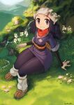 1girl absurdres against_tree black_hair borvar female_protagonist_(pokemon_legends:_arceus) flower grass head_scarf highres looking_at_viewer mountainous_horizon parted_lips pokemon pokemon_(game) pokemon_legends:_arceus red_scarf scarf shade smile solo thick_thighs thighs tree wide_hips