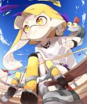 1girl 1other :t asymmetrical_hair bangs bike_shorts blonde_hair blue_sky blunt_bangs blush bow_(weapon) braid colored_sclera domino_mask eyebrow_cut fisheye flag foreshortening from_below highres holding holding_bow_(weapon) holding_weapon ika_esu inkling mask on_shoulder pale_skin pointy_ears pout red_eyes shirt sky smallfry_(splatoon) splatoon_(series) splatoon_3 t-shirt tentacle_hair torn_clothes torn_shirt weapon white_shirt yellow_eyes yellow_sclera