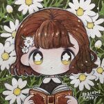 1girl bangs blush book bright_pupils brown_hair daisy dated expressionless flower hair_flower hair_ornament hairclip highres holding holding_book no_nose original outline plant short_hair signature solo traditional_media upper_body white_flower white_outline white_pupils yellow_eyes zukky000
