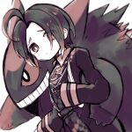 1boy ahoge allister_(pokemon) black_hair bright_pupils closed_mouth collared_shirt commentary_request gen_1_pokemon gengar gym_leader hand_on_another's_hip long_sleeves looking_at_viewer male_focus mole mole_under_mouth pokemon pokemon_(creature) pokemon_(game) pokemon_swsh raised_eyebrows rakugakutari shirt shorts sleeves_past_wrists suspender_shorts suspenders