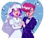 1boy 1girl crossdressing dress highres james_(pokemon) jessie_(pokemon) lr_cu3 pokemon pokemon_(anime) smile team_rocket wedding_dress