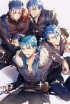 1other 4boys absurdres alternate_costume bag blue_hair chibi closed_eyes closed_mouth collarbone cu_chulainn_(fate)_(all) cu_chulainn_(fate/grand_order) cu_chulainn_(fate/prototype) cu_chulainn_alter_(fate/grand_order) earrings facepaint fate/grand_order fate/prototype fate_(series) fur-trimmed_shirt fur_trim grin highres holding holding_sword holding_weapon jewelry lancer long_hair long_sleeves looking_at_viewer mini_cu-chan_(fate) multiple_boys multiple_piercings one_eye_closed open_mouth pants ponytail popped_collar rapier red_eyes satchel shirt short_hair smile sparkle spiky_hair strap sword the_musketeers_(fate/grand_order) weapon yuu_(guruko)