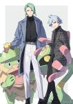 2boys alternate_costume artist_name belt black_footwear black_pants black_shirt buttons closed_mouth coat commentary_request cradily gen_3_pokemon green_hair grey_coat grey_hair highres long_sleeves ludicolo male_focus multiple_boys open_clothes open_coat pants parted_lips pokemon pokemon_(creature) pokemon_(game) pokemon_rse shirt shoes smile standing steven_stone wallace_(pokemon) watermark white_pants xia_(ryugo)