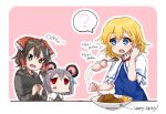 3girls ? alice_margatroid animal_ears bangs black_eyes black_hoodie black_shirt blonde_hair blue_dress blue_eyes blush border bow brown_hair capelet commentary_request cookie_(touhou) curry curry_rice dress eating english_text eyebrows_visible_through_hair food frilled_bow frills gnzy grey_dress hair_between_eyes hair_bow hair_tubes hakurei_reimu holding holding_spoon hood hoodie jewelry kofji_(cookie) long_sleeves looking_at_another maru_(cookie) mouse_ears multiple_girls nazrin necklace open_mouth pink_background red_bow red_eyes rice shirt short_hair short_sleeves spoken_question_mark spoon sweatdrop touhou upper_body upper_teeth web_(cookie) white_border white_capelet