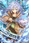 1girl bangs black_skirt blue_eyes blue_hair bone brown_robe claws clenched_hand collar cowboy_shot duel_monster eria eyebrows_visible_through_hair fuji_tarawi gagagigo hair_between_eyes highres holding holding_staff hooded_robe light_blush long_hair magic_circle open_clothes open_hand open_robe robe skirt smile staff water yellow_eyes yu-gi-oh!