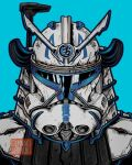 1boy alternate_universe armor artist_name blue_background captain_rex clone_trooper english_commentary helmet highres male_focus radio_antenna samurai solo star_wars star_wars:_the_clone_wars stunning_warrior upper_body v-fin visor