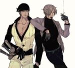 2boys alternate_costume bandana black_shirt cigarette facial_hair goatee highres holding holding_cigarette jacket jewelry katana large_pectorals laulaubi leaning_on_person male_cleavage male_focus multiple_boys muscular muscular_male one_piece open_clothes open_jacket open_shirt pants partially_unbuttoned roronoa_zoro sanji scar scar_across_eye scar_on_chest shirt short_hair sideburns single_earring smoke stitches sword weapon white_pants