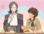 2boys bangs blush brown_hair cape curry curry_rice european_clothes fate/grand_order fate_(series) food fujimaru_ritsuka_(male) glass gloves green_hair holding holding_spoon long_sleeves looking_at_another male_focus multiple_boys official_alternate_costume pale_skin parted_bangs phantom_of_the_opera_(fate) rice rimless_eyewear sara_(kurome1127) smile spoon upper_body white_gloves white_neckwear