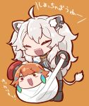 2girls ^_^ absurdres animal_ear_fluff animal_ears bandages bangs chaki_(teasets) chef_hat chibi closed_eyes ear_piercing earrings eyebrows_visible_through_hair fangs feather_earrings feathers grey_hair hat highres hololive hololive_english jewelry lion_ears lion_tail multiple_girls open_mouth orange_background orange_hair piercing red_eyes red_headwear shishiro_botan smile tail takanashi_kiara virtual_youtuber wrapped_up