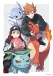 2boys alternate_costume artist_name bangs black_footwear black_hair blue_oak brown_eyes brown_hair charmeleon closed_mouth commentary_request fire flame gen_1_pokemon highres ivysaur long_sleeves looking_at_viewer male_focus multiple_boys parted_lips pokemon pokemon_(creature) pokemon_(game) pokemon_rgby red_(pokemon) red_footwear red_scarf scarf shoes sleeves_past_wrists smile socks spiky_hair squatting wartortle xia_(ryugo)