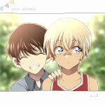 2boys ^_^ amuro_tooru bandaid bandaid_on_nose bangs blonde_hair blue_shirt blurry blurry_background brown_hair child closed_eyes closed_mouth commentary english_text eyebrows_visible_through_hair grin hair_between_eyes hand_on_another's_shoulder happy happy_birthday highres looking_to_the_side male_focus meitantei_conan multiple_boys niina_1oo9 pennant red_shirt scotch_(meitantei_conan) shirt short_hair sideways_glance signature sleeveless sleeveless_shirt smile string_of_flags teeth younger