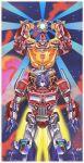 1980s_(style) 2boys autobot blue_eyes ct990413 holding hot_rod insignia matrix_of_leadership mecha multiple_boys no_humans open_hands optimus_prime orange_eyes planet retro_artstyle science_fiction transformers